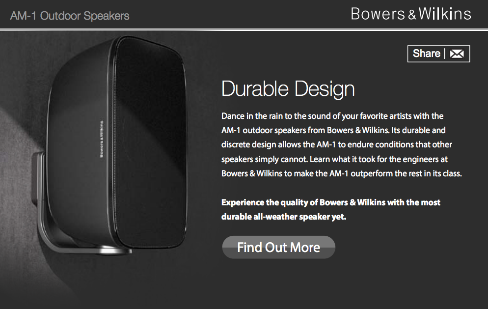 bowers and wilkins am 1. bowers \u0026 wilkins email campaign for am1 and am 1